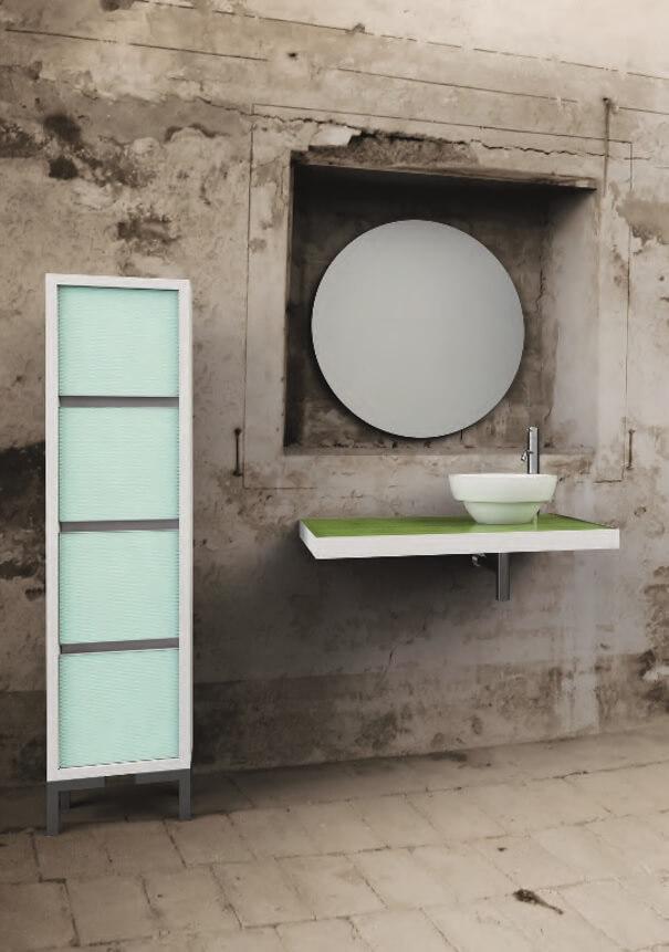 Top sospeso con lavandino e specchio tondo - Berloni Fabio