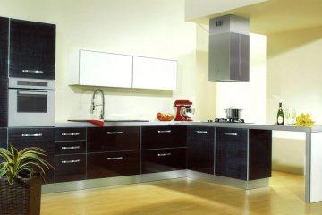 Cucina iacu in vetro di resina nero