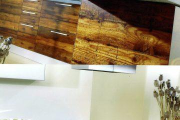 Cucina iacu in vetro di resina legno lucido