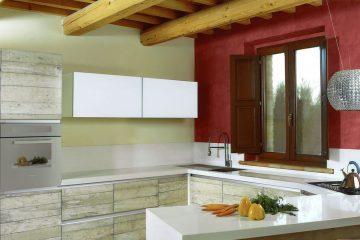 Cucina iacu in vetro di resina legno