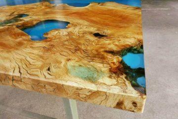 Rivestimento tavolo in vetro di resina